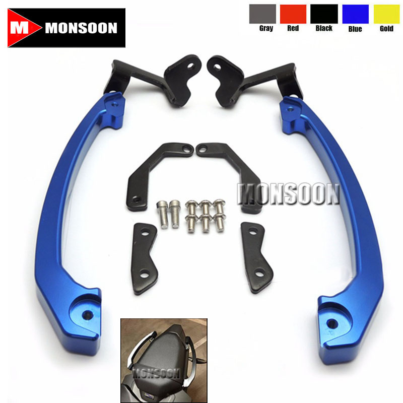 For Yamaha MT-07 FZ-07 2014-2016 Rear Passenger Seat Hand Grab Bar Rail Blue mt07 mt 07 rear seat cover cowl for yamaha mt 07 fz 07 fz07 2013 2014 2015 2016 2017 blue carbon fiber black rear seat cowl