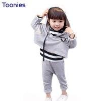 3pcs Kids Pants Suit Casual Girls Boys Sportswear 2017 Winter Children Clothing Set High Quality Cotton