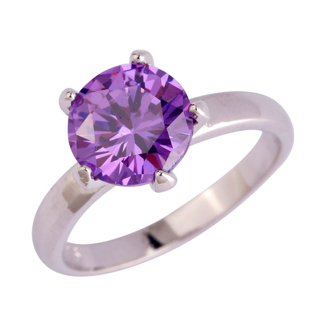 Best Price Fashion Amethyst Stone Silver Ring Size 6 7 8 9 10 11