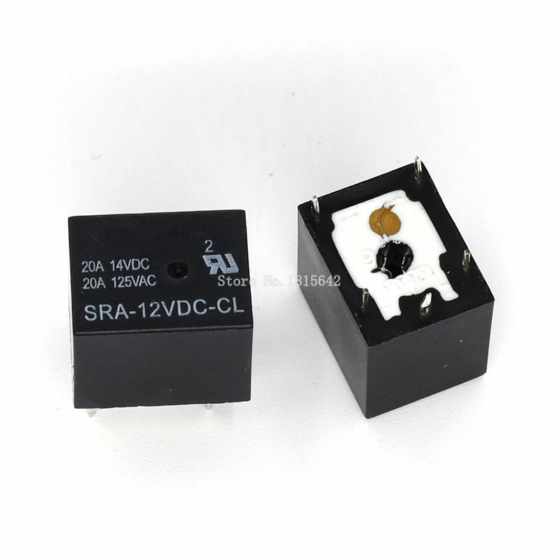 Купить со скидкой 5PCS/LOT 12V 20A DC Power Relay SRA-12VDC-CL SRA-12 5Pin PCB Type Black Automobile relay