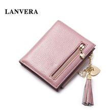 LANVERA Brand Genuine Leather Women's Purse Folding Short    Woman Wallet Small   Women Purse For Coins   Ladies Card Holder