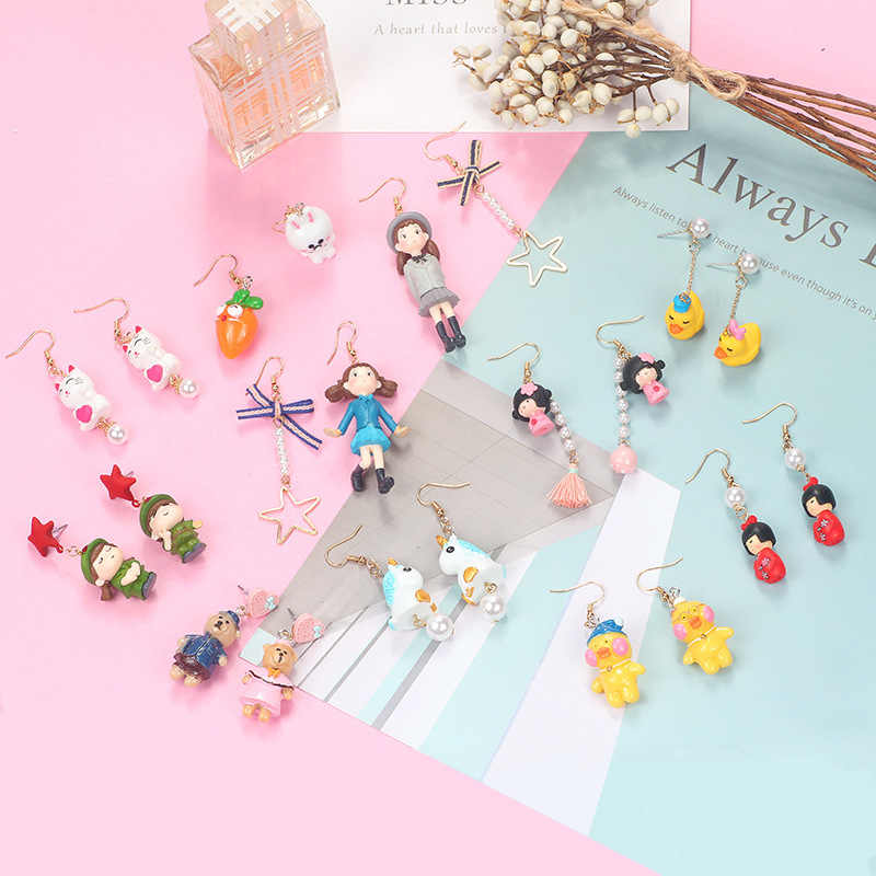 MINGQI Creative Cartoon Character Animal Duck Bear Unicorn Pendant Earrings Fun Cute Personality Trend Earrings Women Jewelry