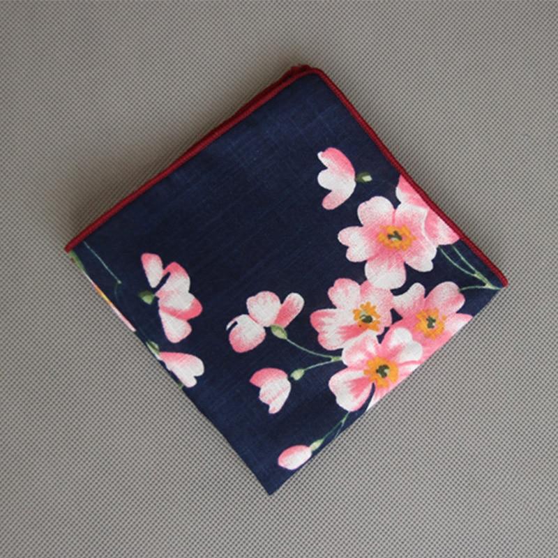 Mantieqingway Brand Cotton Pocket Square Printed Hankies Chest Towel For Mens Wedding Business Suits Floral Men's Handkercheifs