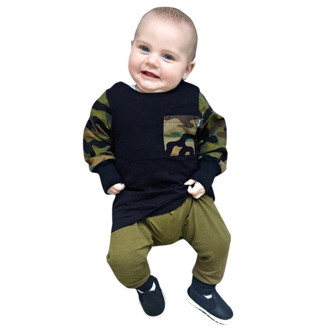 MuqGew Girls Suit Winter Clothing Toddler Infant Baby Boys Camouflage Tops  T-shirt Pants 2018 - MuqGew Girls Suit Winter Clothing Toddler Infant Baby Boys