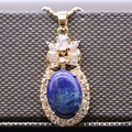 Antique Natural Lapis Lazuli Champagne Gold Plated Necklace Pendant Inlay AAA Cubic Zirconia Pendant