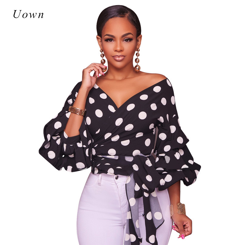 744c72ed3 2017 Black White Polka Dot Shirt Women Blouse Fall Fashion Ladies .
