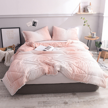 1 Piece Pink Stripe For Single Double Polyester Cotton Bed