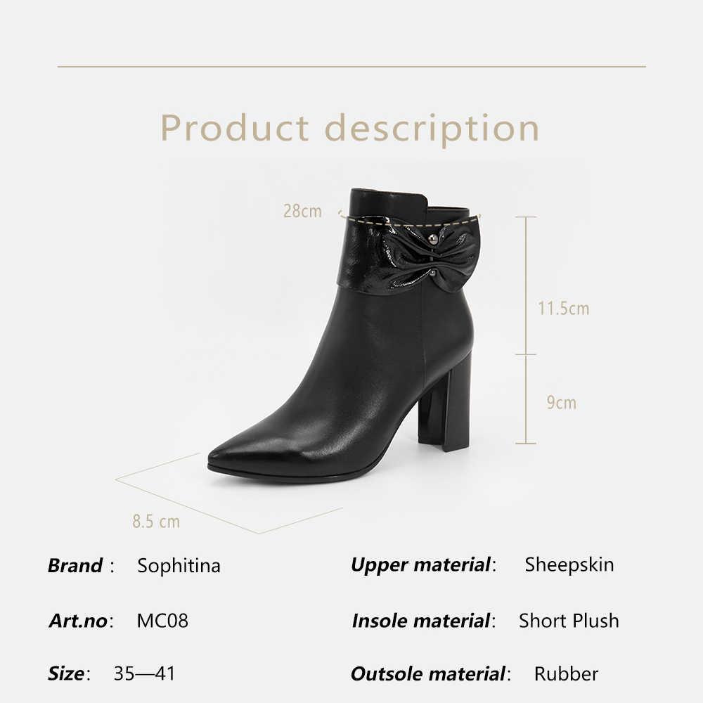 SOPHITINA Moda Kadın Çizmeler Zarif Sivri Burun Hakiki deri ayakkabı Yüksek Kare Topuk Kelebek düğüm Fermuar yarım çizmeler MC08