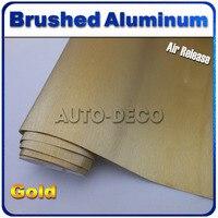 Cao chất lượng vàng chải nhôm vinyl bọc PVC phim tài liệu xe cơ thể dán với không khí kênh có kích cỡ: 152*30m/roll