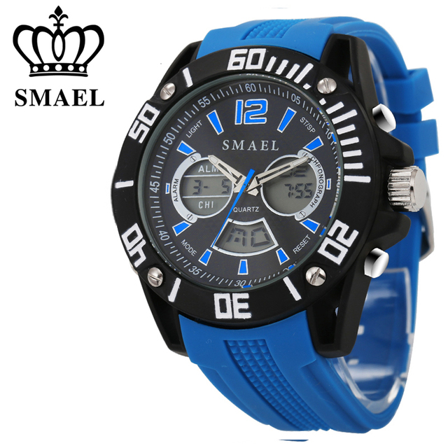 Men Brand Watches Alloy Dual Time Blue Sport Watch Waterproof Silicone Strap Quartz Wristwatches relogio masculino Gifts WS1035