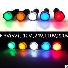 10 шт. 16 мм сигнальный светодиодный индикатор синий зеленый красный, белый желтый Пилотная лампа