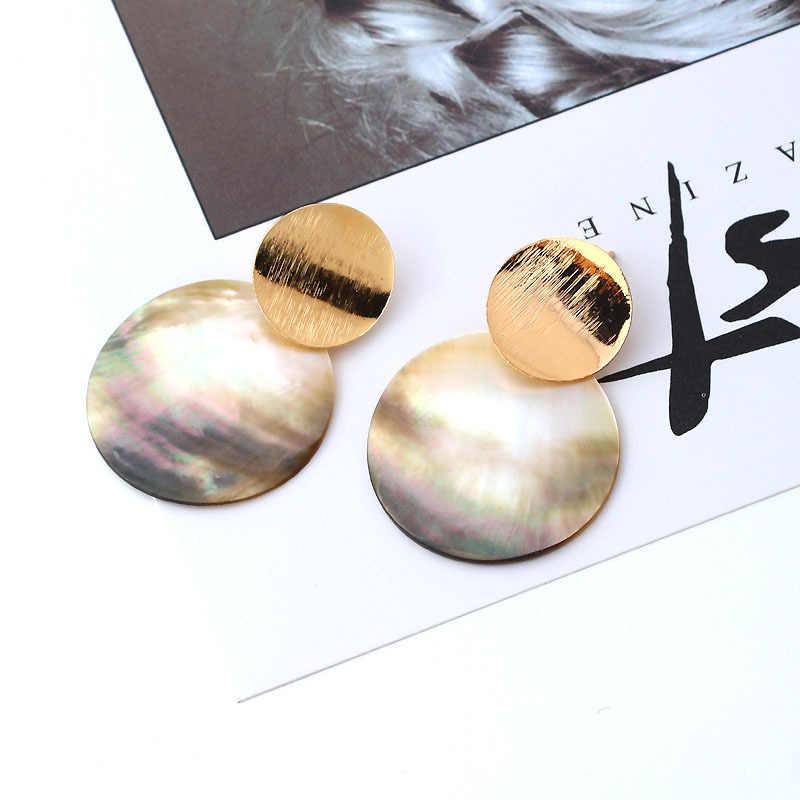 نجمة الموضة الذهب اللون المعادن جولة دائرة هندسية شخصية مشرق الملونة جولة قذيفة مثير مربط القرط المرأة مجوهرات