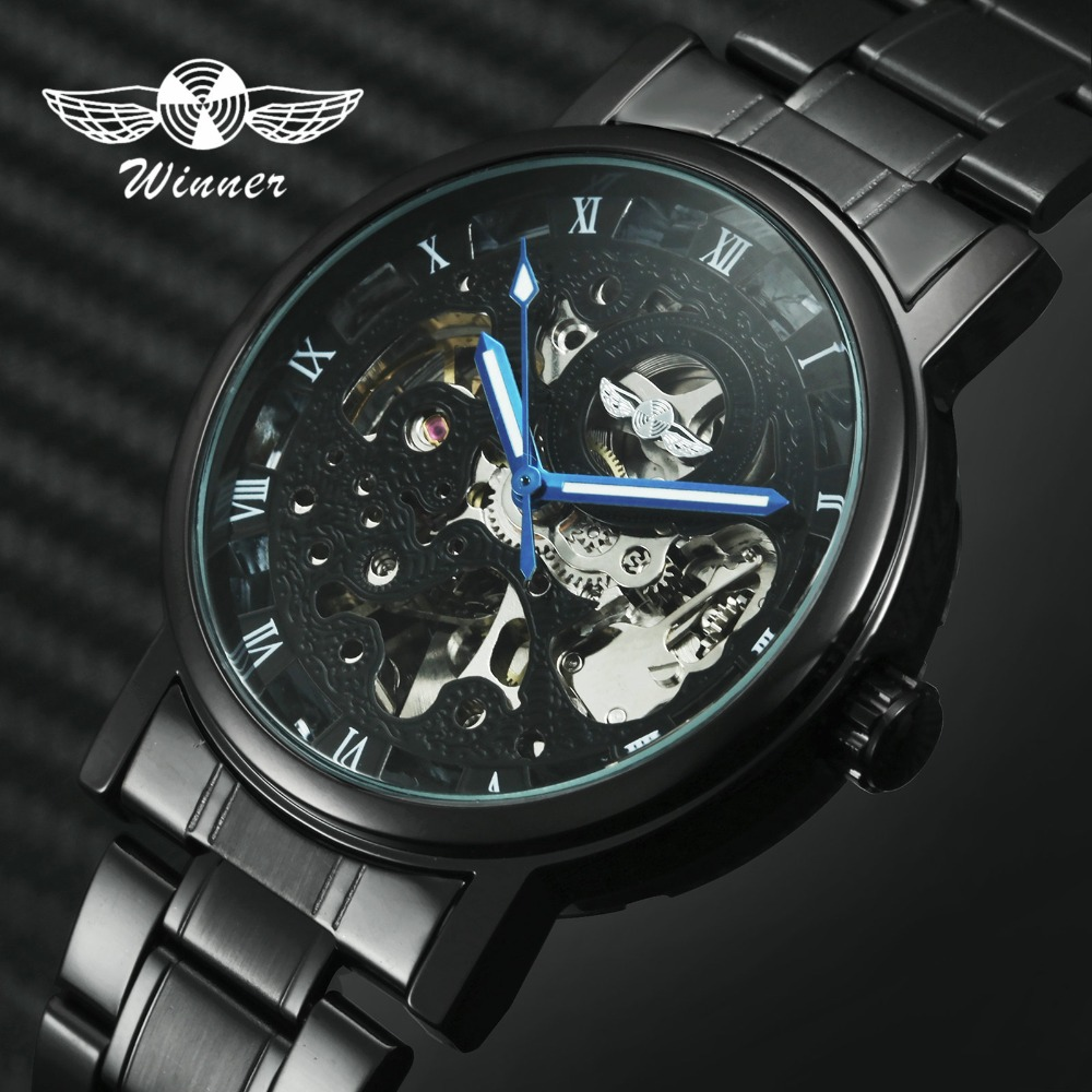 WINNER Official Casual Watches Men Skeleton Mechanical Watch Steel Strap Roman Number Business Top Brand Luxury Men's Wristwatch