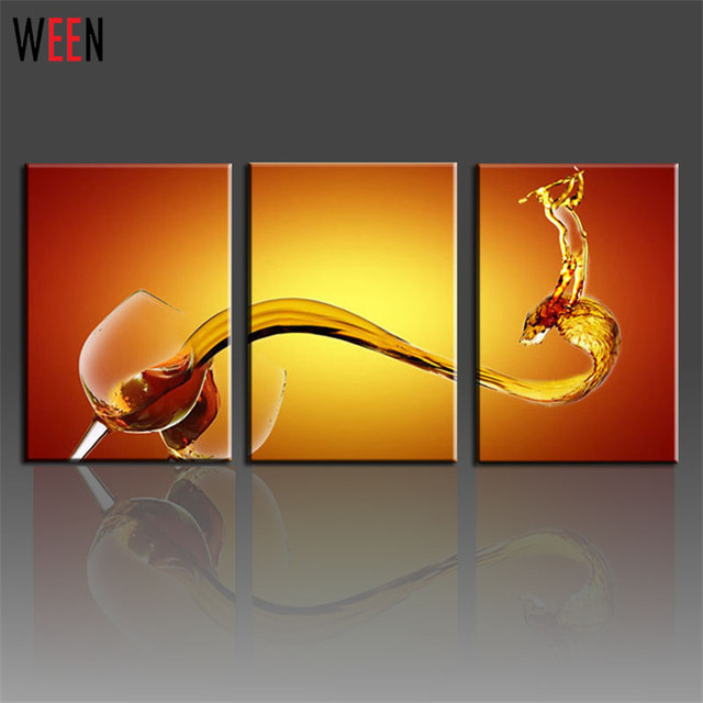 3 Piece Canvas Printings Art Wine Glass Wall Home Decoration Living ...