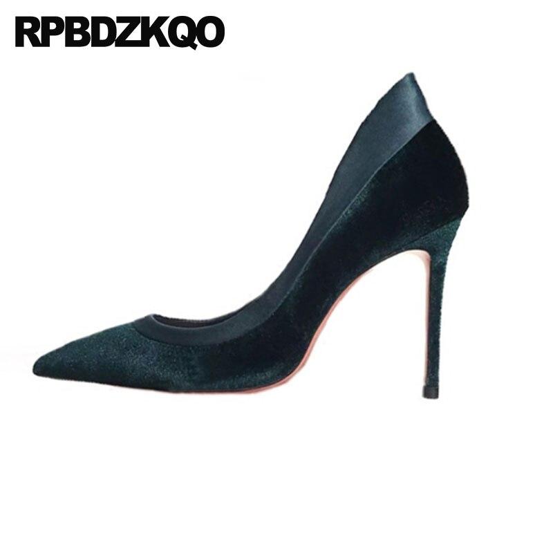 все цены на Women Pointed Toe Velvet High Heels Bridal Prom Wedding Suede 2018 Party Shoes Red Elegant Pumps Size 4 34 European Stiletto 33 онлайн