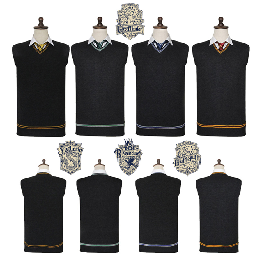 Harri Potter Sweater Gryffindor V Neck Sweater Waistcoat Black all-match Daily Clothes With Embroidery Tie
