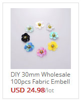 DIY 30mm Wholesale 100pcs Fabric Embellishments Iron on Handmade ... 94df84a9067d