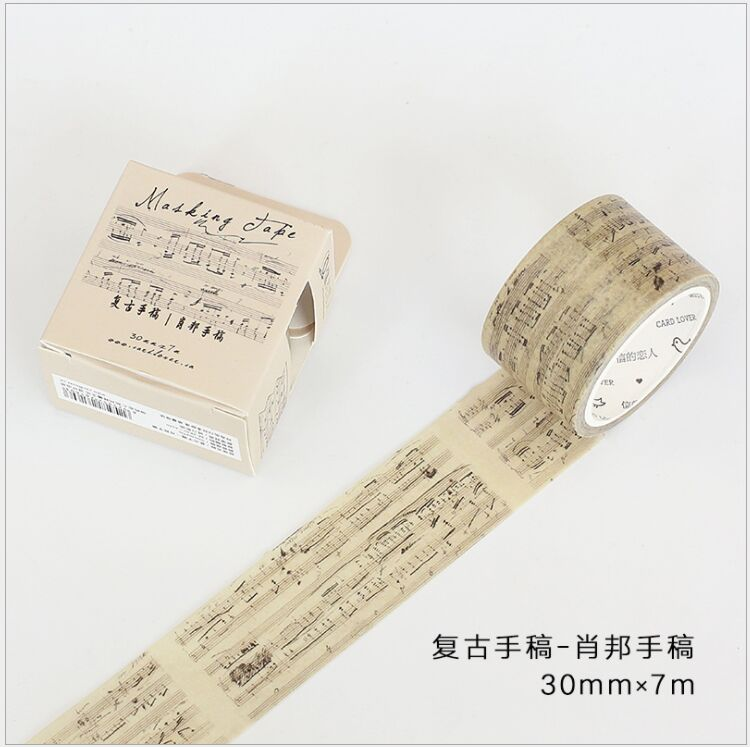 30mm Vintage Chopin Music Note Newton Laws Manuscript Decoration Washi Tape DIY Planner Scrapbooking Masking Tape Escolar