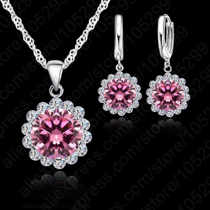 Wholesale Price Wedding Jewelry Set 925 Pure Silver Cubic Zircon Necklace Pendant/Earrings Fashionable Women Set