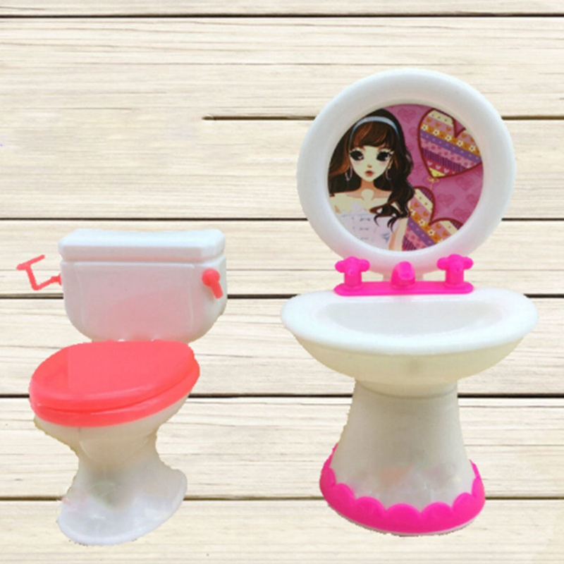 Plastic Accessories Set Washbasin Toilet Play House Toys Bathroom Doll Accessories Doll Toy