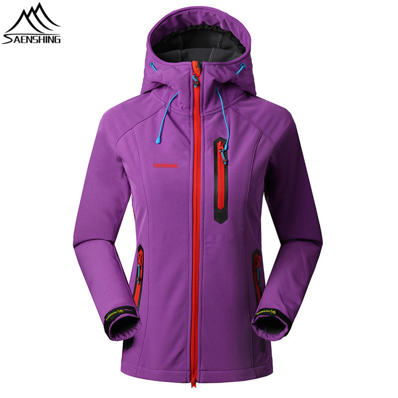 SAENSHING Outdoor Softshell Jacket Women Windproof Waterproof Jacket Polyester Warm Hiking Camping Autumn Outdoor Jackets High-Q