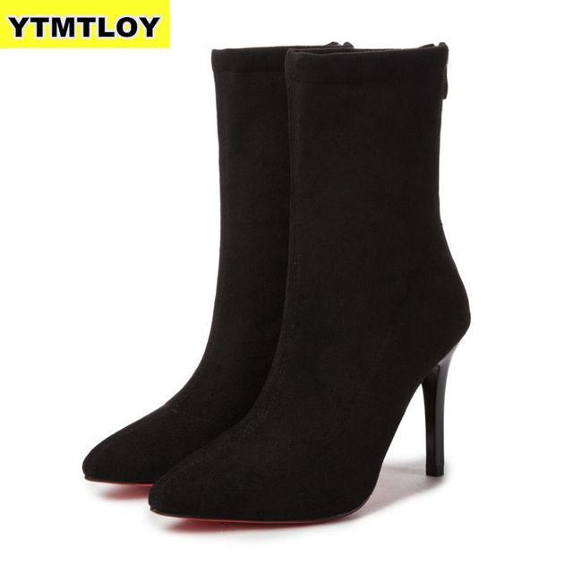 Las mujeres calcetines Botas puntiagudo dedo del pie elástico alto deslizamiento en el talón tobillo bombas Stiletto Botas Zapatos De Mujer calcetín Zapatos De alta botasBotas hasta el tobillo