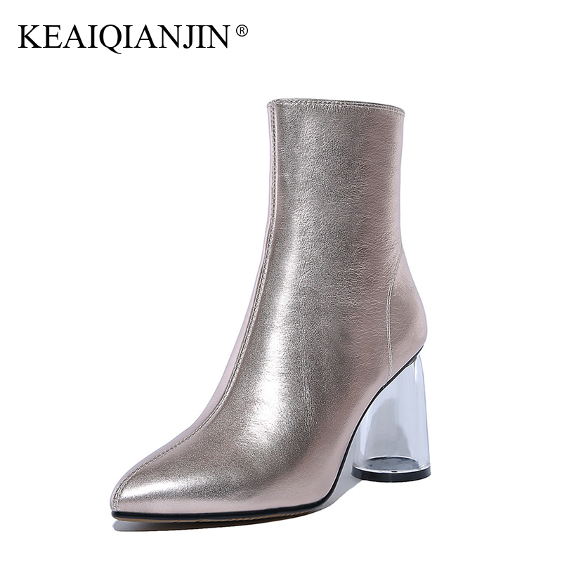 KEAIQIANJIN Woman Pink Silver Ankle Boots Autumn Winter Pointed Toe Ultra High Heels Shoes Fashion Sexy Genuine Leather Boots keaiqianjin woman pointed toe ankle boots black autumn winter genuine leather shoes fashion metal decoration chelsea boots 2017