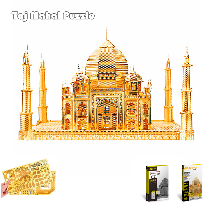 цена на PieceCool 3D Metal Puzzle World Famous Building 3D Assembly Model Taj Mahal 3d Metal Earth Jiasaw Model for Children Gift & Toys