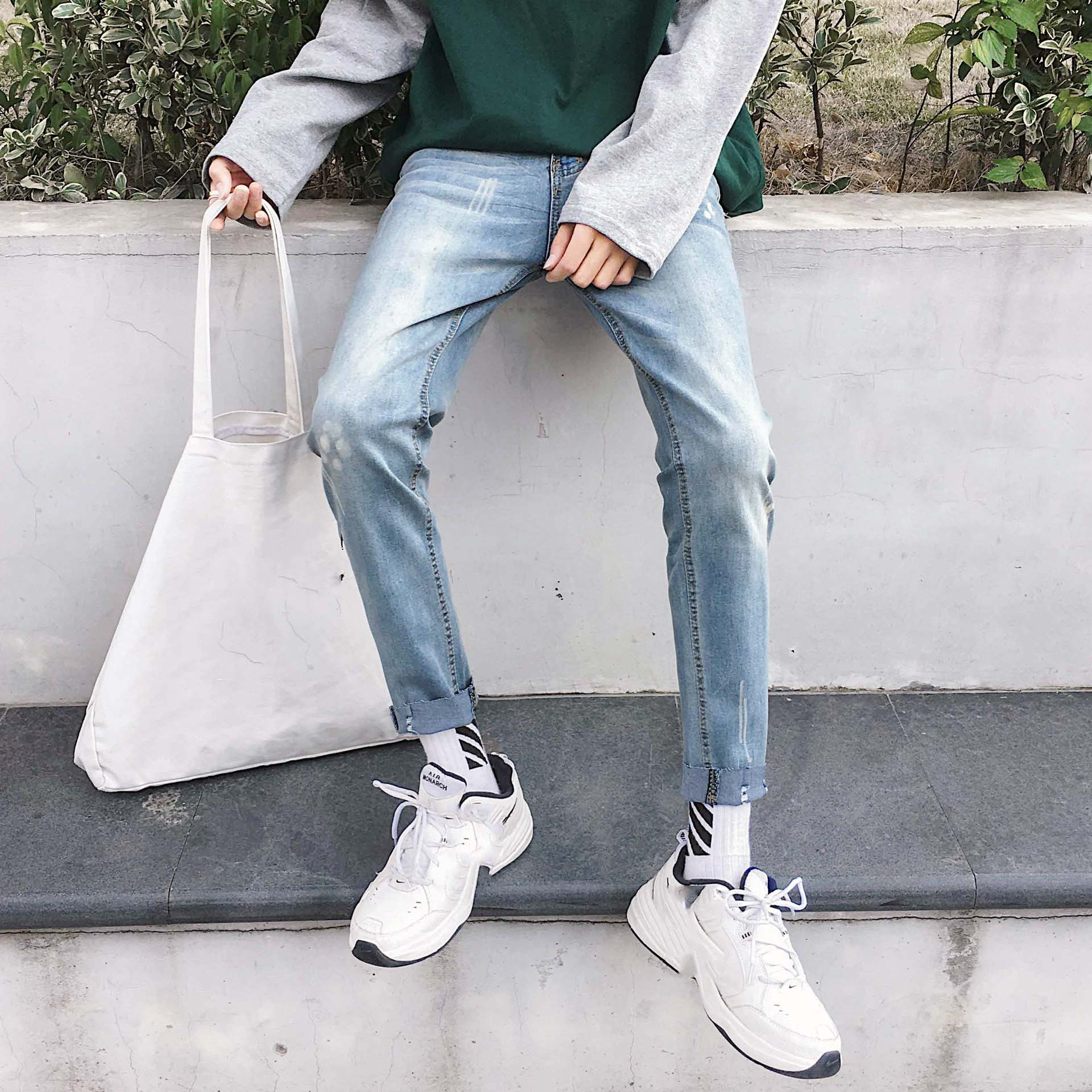 Wholesale 2019 Spring Autumn streetwear ripped biker slim fit jeans for men denim classic jeans homme slim pencil jeans men in Jeans from Men 39 s Clothing