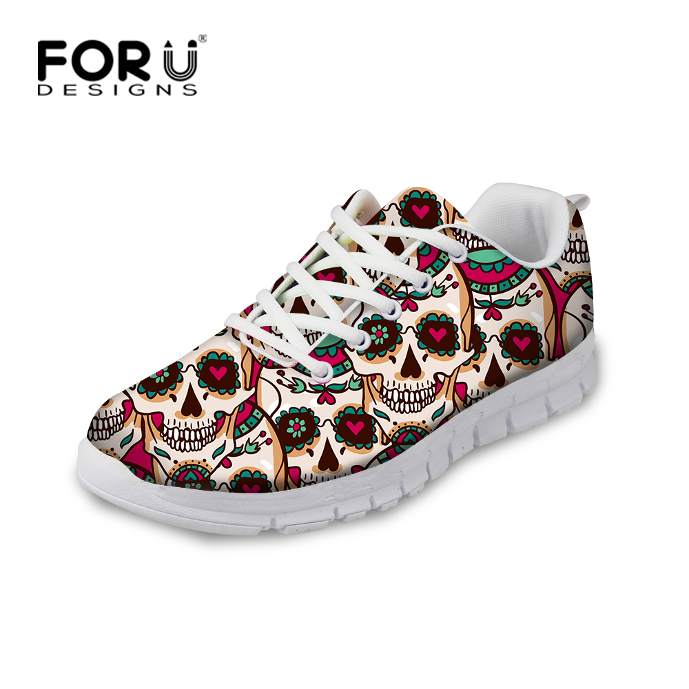 FORUDESIGNS Cool Men`s Casual Shoes, Spring Skull Printing Breathable Male Flat Shoes Classic Mesh Men Flats Shoes Plus Size
