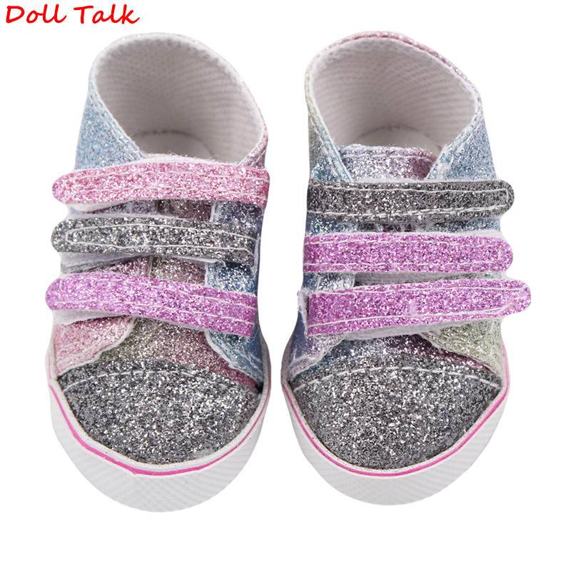 Doll Talk 8cm Babydoll Shoes Denim Sneakers For 18 Inch Dolls Fashion Baby Doll Cool Fashion Canvas Velcro Sneakers Girl Dolls