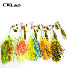 5pcs 16.3g Spinnerbait Black Large Mouth Bass Fish Metal Bait Sequin Beard Pike Fishing Tackle Rubber Jig Soft Fishing Lure