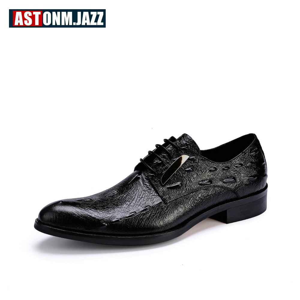 Men's Shoes Cheap Sale Mens Genuine Leather Pointed Toe Buckle Leather Shoes Crocodile Print Oxfords Business Man Wedding Shoes Formal Dress Shoes Formal Shoes