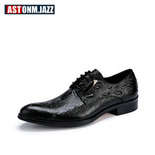 2018 Mens Genuine Leather Pointed Toe Alligator Dress Shoes Crocodile Print Oxfords Business Man Lace Up Party Wedding Shoes цены онлайн