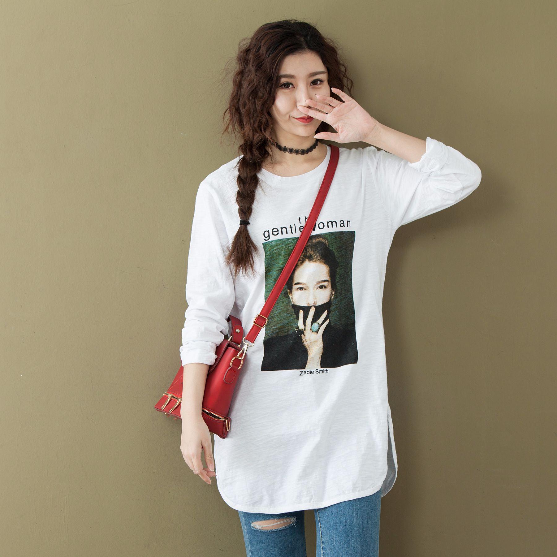 Spring Fashion Casual Oversize Print Cotton Long Sleeve Women T Shirt 2018  Korean Loose BF Style