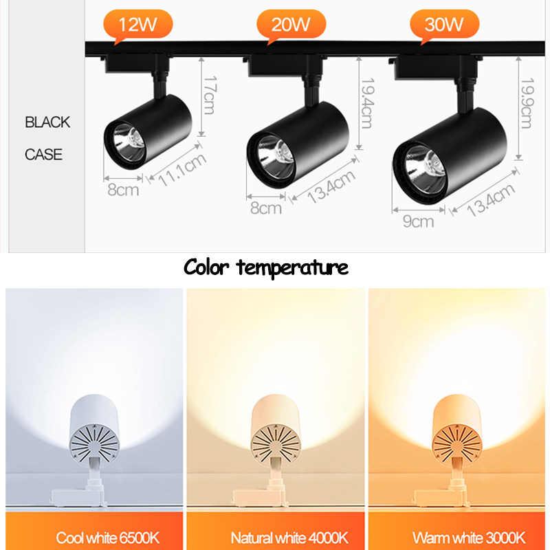 Регулируемая 12 W 20 W 30 W COB светодиодный свет трек точечные осветительные приборы Светодиодная потолочная лампа установлен железнодорожные пути светильник декоративный светодиодный spotlight