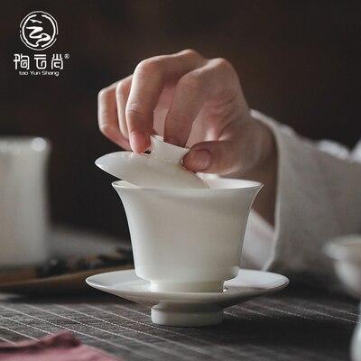Thé en porcelaine blanche Dehua Tureen thé blanc Jade fait à la main Kung FuPu'er thé vert Oolong trois bols Teaware livraison gratuite - 2