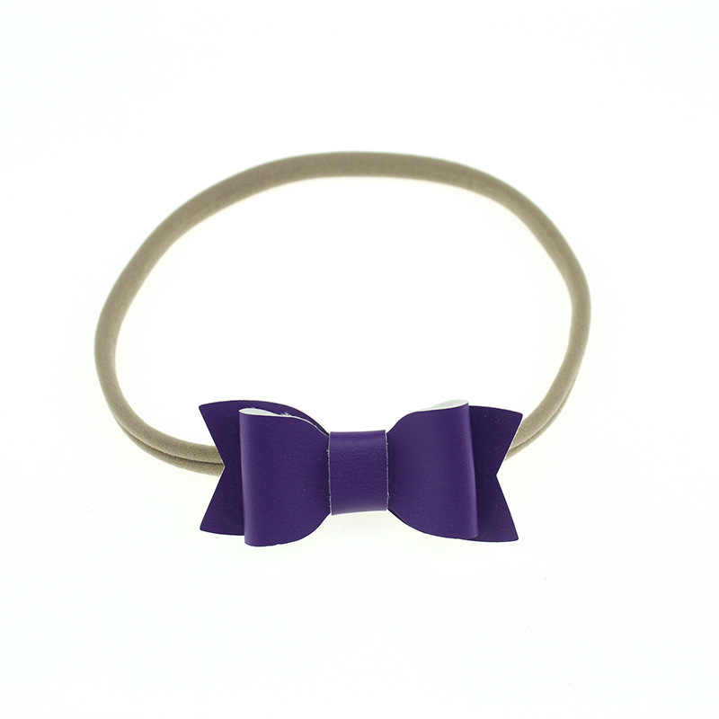 Nishine Neue Elastische Nylon Pu Leder Bogen Stirnband Mädchen Kinder Party Headwear Geburtstag Geschenke Foto Schießt