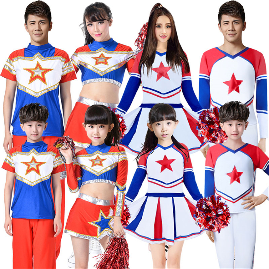 Cheering Squad Cheerleaders Costumes Children Cheer Dance Clothing for Boys Girls School Games Uniform Matching Outfits Kids Set