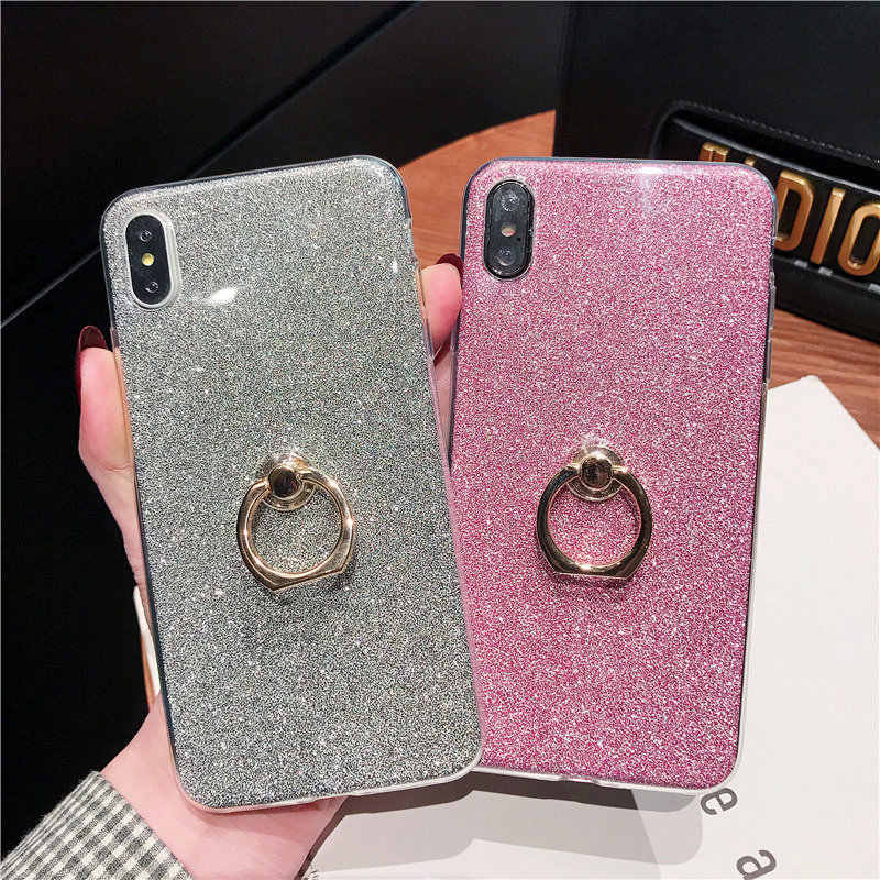 Silicone Bling Glitter Phone Case For Samsung Galaxy A7 2018 S8 S9 Plus Case Soft TPU Ring Cover For Samsung Note 9 A9 2018