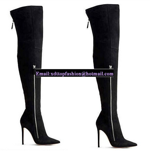 2017 Black Suede Designer Heels Pointed Toe Thigh High Boots Top ...
