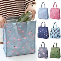 New Fresh Insulation Cold Bags Thermal Oxford Lunch Bag Waterproof Convenient Leisure Bag Cute Flamingo Cuctas Tote 1PC Lunch Bags