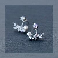 1 paar Real. 925 Sterling Zilveren sieraden clear cz Tak Lef & witte zoetwaterparels Ear