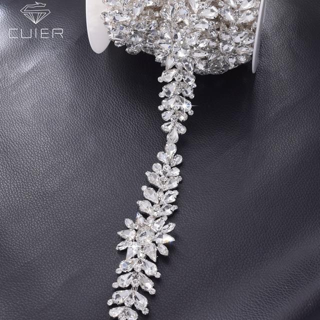 1 yard silver rhinestones wedding dress crystal appliques for belt sash all  glass stone Flower strass 9c337e6ca203
