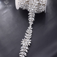 1 yard silver rhinestones wedding dress crystal appliques for belt sash all glass stone Flower strass DIY trimming for clothing
