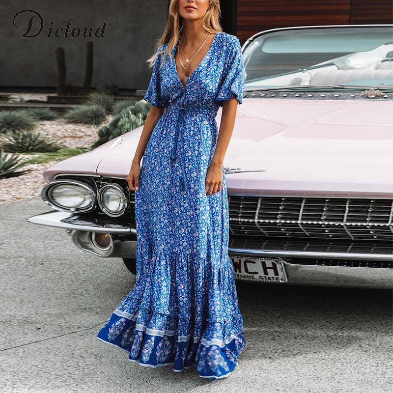 DICLOUD Сексуальная V шеи синий Boho Макси платья Для женщин летний корсет со шнуровкой короткий рукав синий длинное богемное пляжное платье Вечерние пляжное платье