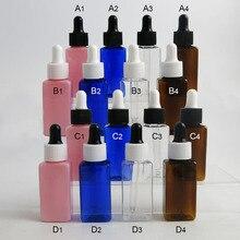 30x30 мл квадратные пластиковые бутылки для капельницы с пипеткой для глаз пустая бутылочка янтарного цвета/прозрачные/розовые/синие Бутылочки для эфирных масел контейнеры