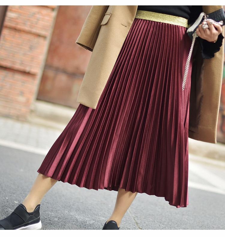 Stretch High Waist Long Pleated Skirt 7