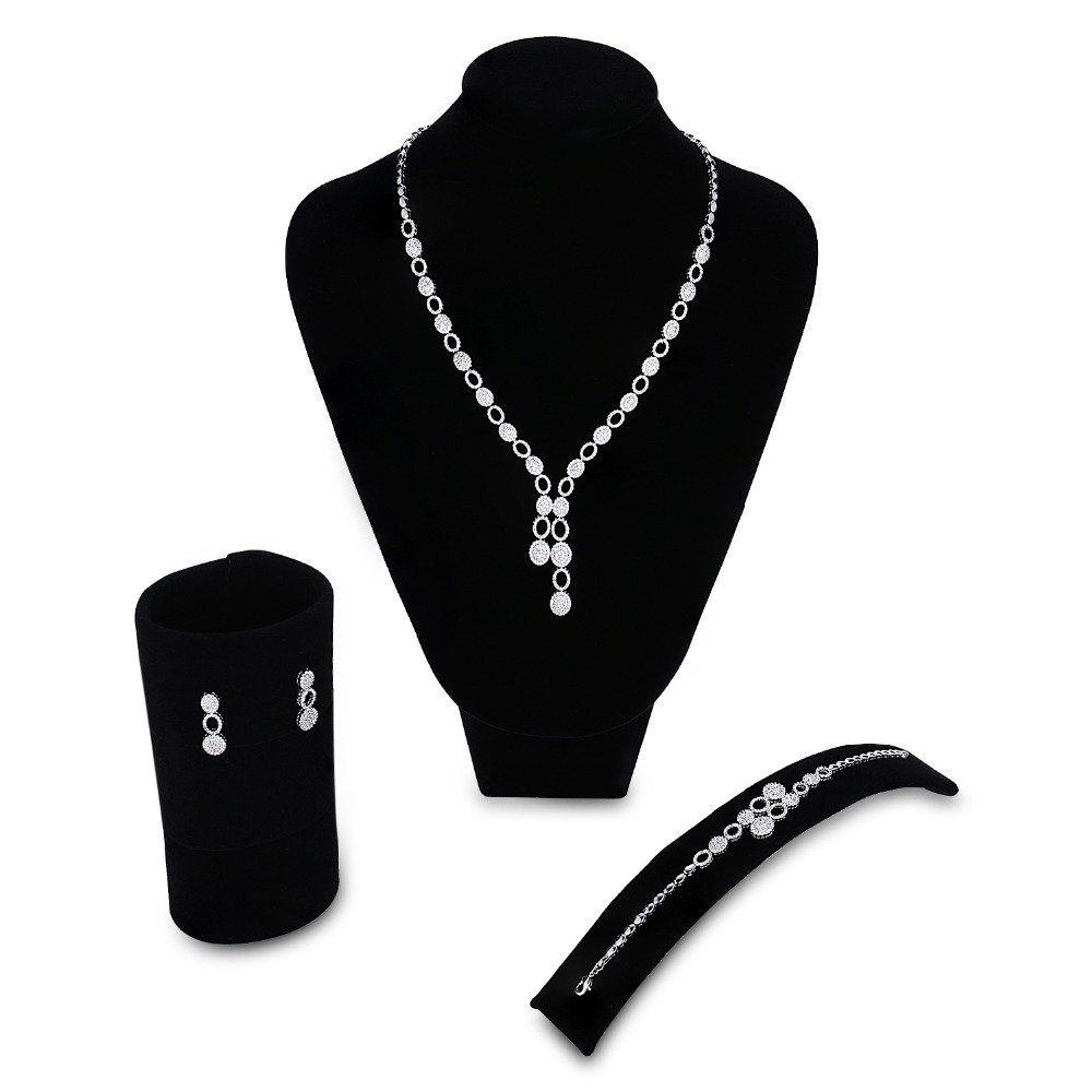 Wedding Jewelry Sets for lady rhodium plated setting white CZ 3pcs jewelry set ( necklace + bracelet + earrings ) Free shippingWedding Jewelry Sets for lady rhodium plated setting white CZ 3pcs jewelry set ( necklace + bracelet + earrings ) Free shipping