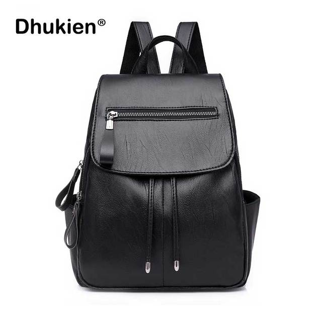 b2f9ee165ff US $17.03 35% OFF|Aliexpress.com : Buy Fashion Backpacks for Teenage Girls  Small Women Pu Leather Backpack Zipper Casual Vintage School Bags Ladies ...
